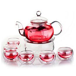 Wholesale Double Walled Teapot - Hot Sale Borosilicate Heat-resistant Glass Tea Pot Set Infuser Teapot Warmer With Strainer Flowers 6 Double Wall Tea Cups 600 ML
