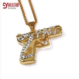 Wholesale 2pac Gun - 2016 hiphop gun 2PAC pistol gold Necklaces & Pendants unisex Jewelry for women kolye statement necklace for men maxi collier
