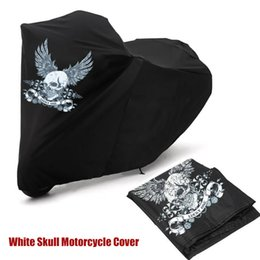 Wholesale Road Touring Bikes - Wholesale-White Skull Motorcycle Cover XXL Large Size Dustproof Sporster Road King Electra Touring Bike Cruiser 180T For Harley Suzuki