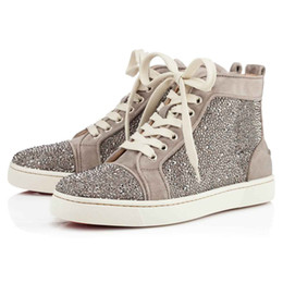 Wholesale Crystal Lace Appliques Fabric - Party Birthday Gift Luxury Red Bottom Sneaker Veau Velours louflat Women Strass Men's Flat Scintillating Crystals Winter Hightop Matte Shoes