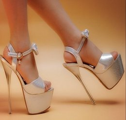 Wholesale New Sexy Bride High Quality - HOT!! 2016 high quality new sexy super high heel 16 cm thick silver bottom waterproof computer wedding shoes bride 17 cm sandals