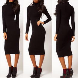 Wholesale Cheap Sexy Bodycon Midi Dresses - 2016 Sexy Evening Club Party Dress Autumn Fall Long Sleeve Casual Cheap Women Black Bodycon Bangage Dresses Midi Pencil Dress Skirt
