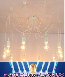 Wholesale Hotel Bedroom Accessories - Retro chandelier E26 E27 spider lamp pendant bulb holder Edison diy lighting lamps lanterns accessories messenger wire exclude bulbs MYY