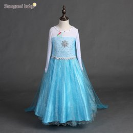Wholesale Baby Blue Sleeveless Dress - blue princess dress for baby girl costume dress for children movie cosplay snowflake rhinestone mesh dress long for Christmas party birthday