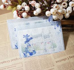 Wholesale White Paper Envelopes - Wholesale- 10pcs lot Translucent Hazy Chinese Wind Sulfuric Acid Paper Envelopes Blue And White Charge Case Paper Envelopes