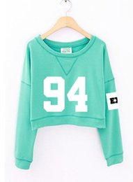 Wholesale Kpop Pullover - 2016 Spring Autumn Women's EXO Hoodies Fashion Number Printed Cropped Sweatshirts Youth Pullover Kpop mint Green EXO Hoodies