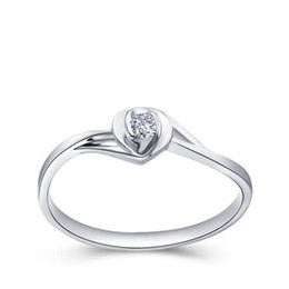 Wholesale Natural Round Certified Diamonds - Certified Solid gold Natural diamond engagement rings for women 0.10ct Round Cut SI G-H GOOD 14K white gold heart shape wholesale XTR1022