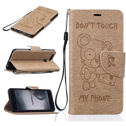 Wholesale Bear Stands - Cartoon Bear Wallet Leather Pouch Case For Huawei P10 P9 LITE Y3 Y5 Y6 II Honor 5A LG K7 K8 2017 K10 Strap Stand Don't touch my phone Cover