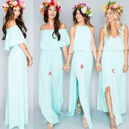 Wholesale Beach Portrait - 2016 Beach Bridesmaid Dresses Long Halter V Neck Portrait Floor Length Bridesmaids Gowns Backless Cheap Top Quality Chiffon Maid of Honor
