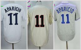 Wholesale 1969 Baseball - Chicago White Baseball Jerseys Cheap 11 Luis Aparicio Jersey 1969 Cooperstown Cream Pinstripe Pullover Throwback Grey White Beige