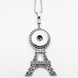 Wholesale Eiffel Tower Buttons - Wholesale The Eiffel Tower snap button jewelry pendant Necklace Chunk button jewelry (fit 18mm 20mm snaps) Zinc alloy