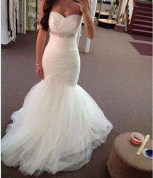 Wholesale Sweetheart Mermaid Rhinestone Wedding Dresses - Vestido de Noiva 2017 Sweetheart Mermaid Wedding Dresses Pleated Tulle Rhinestone Crystal Beaded Waistline Court Train