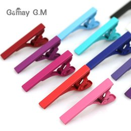 Acheter en ligne Entreprise de barre-Attachez Clips tirants solides 4 * 0.6cm 13 couleurs cravate clips pour l'homme d'affaires cravate père Cravate mens clip pince à cravate cadeau de Noël