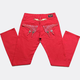 Wholesale Rhinestone Denim Jeans - Free Shipping New Robin Jeans Men's Slim Fit Red Denim Trousers Pant Robin's Jean Rhinestone Stretch Jeans BBF0437