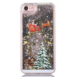 Wholesale Pink Plastic Christmas Tree - 3D Christmas tree Santa Claus Case Floating Liquid Quicksand Glitter PC Clear Transparent for iphone7 7plus 6 6Splus 5S Samsung S7 edge S6
