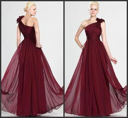 Wholesale Elegant One Shoulder Dress - Beautiful Wine Red Long Bridesmaid Dress with Sexy Hand-Made Flowers One Shoulder Floor Length Pick ups Elegant Chiffon Evening Prom Gowns