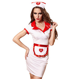 Wholesale White Nurses Uniform Dress - Free Shipping Womens Sexy Lingerie Cosplay Set Nurses Clothes Dresses Nightclub Uniform Women's Sexy White Skirt EU810