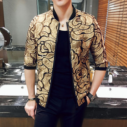 Wholesale Men S Fashion Outfits - Wholesale- 2017 Summer Jackets Mens White Jackets 5XL Mens Clothing Transparent Jacket Gold Mens Sexy Black Club Outfits Lace Coat Slim Fit