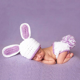 Wholesale Newborn Crochet Hat White - Newborn Boy Clothes Knitted Hat Set Infant Photo Props Baby White Rabbit Photography Props Crochet Boys Outfits Baby BP066