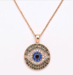 Wholesale Czech Christmas - Wholesale Evil Eye Pendant Necklace Pave Rhinestones Czech Diamond Turkish Blue Eye European American Sweater Chain Jewelry