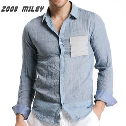 Wholesale Big Collar Shirt Xxl - Wholesale- ZOOB MILEY Men Long Sleeve Shirt Light Blue Soft Linen Cotton With Pocket Causal Style Single-breasted Men Dress Big Size M-XXL