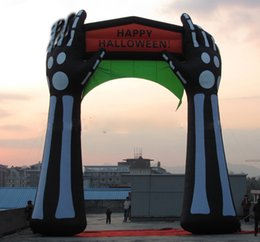 Wholesale Inflatable Skeleton - huge custom inflatable Halloween skull skeleton arch for holiday party decoration