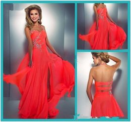 Wholesale Neon Coral Dresses - evening dress red Prom Dresses Crystal Embellished Halter Slit Chiffon Bright Hot Pink Prom Dress Sexy Low Back Cut Out Neon Coral Gown