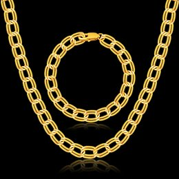 Wholesale Wholesale Real Gold Jewellery - jewelry sets for women men real 18K gold plated link chain necklace bracelets set fashion factory hot sale wholesale jewellery