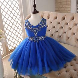 vestidos para meninas primera comunion Desconto Capped V Neck Frisada Cristal Flower Girl Dress 2016 Azul Royal Crianças Vestidos de Noite Novos Vestidos Primera Comunion