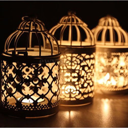 Wholesale Metal Lantern Holders - New Metal Round Moroccan Votive Candle Holder Hanging Lantern Home Centerpieces Party Supplies Decoration