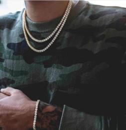 Colar redondo de ouro on-line-Hip Hop Corrente de Ouro 1 Linha Redonda Tênis Colar Cadeia de Colar de 20 polegadas -36 polegada Dos Homens Do Punk Congelado Para Cima Colar de Corrente de Strass