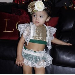 Wholesale Baby Girls Red Tank Top - Newborn outfits Baby girls lace fly sleeve sequins glittering tank tops+splicing lace hollow out shorts 2pcs sets cute Infants clothes C1784