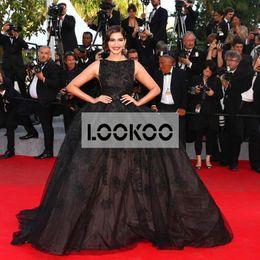 Wholesale Elie Saab Dresses For Sale - Black Ball Gown Hot Sale 2016 Sonam Kapoor Tulle Sweep Train Pageant Dresses for Adults Lace Appliques Elie Saab Red Carpet Evening Dresses