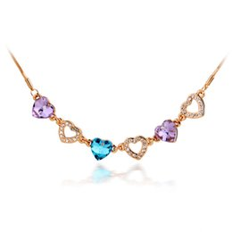 Wholesale Multi Color Snake Necklace - 18K Rose Gold Plated Multi Color Stone Clear Crystal Cluster Heart Snake Chain Necklace for Women