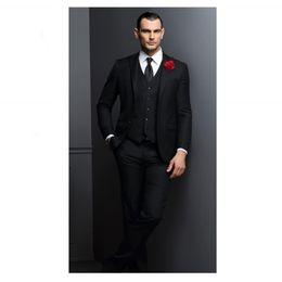 Wholesale western tuxedos - Cheap Western Style New Design Man Suits Notched Lapel Two Button Groomsman Tuxedos Men Wedding Suits(Jacket+Pants+Vest)