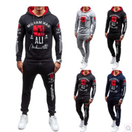 Wholesale Hooded Sweater Shirt - Autumn winter new European and American men 's hooded sets of sweater shirt pants suit long - sleeved printing sports clothing