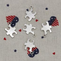 Wholesale wholesale autism charms - 142pcs Charms jigsaw puzzle piece autism awareness 20*14mm Antique Silver Pendant Zinc Alloy Jewelry DIY Hand Made Bracelet Necklace Fitting