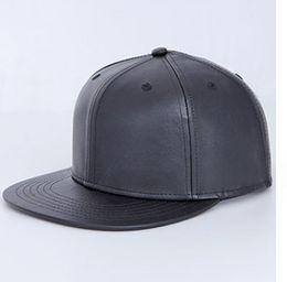 Wholesale White Leather Costume - Wholesale-Leather 6 Panel Flat Bill Blank Snapbacks Hat hip hop Cap