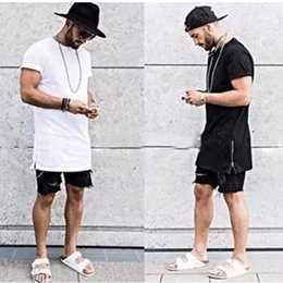 Wholesale Scoop Neck Tshirt - summer style men silver side zipper t-shirt streetwear style hip hop t shirts fashion clothes designer swag tshirt