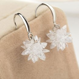 Wholesale Earring Snowflake Silver - 2016 New Luxury 925 Silver Snowflake Wedding Charm Earrings CZ Rhinestone Engagement Beautiful Earrings Jewelry Crystal Ear Rings