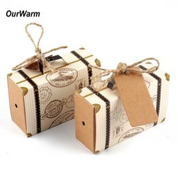 Wholesale Wholesale Wedding Bonbonniere - 50Pcs Mini Suitcase Kraft Candy Box Bonbonniere Wedding Gift Boxes Travel Themed Party For Anniversary Birthday Baby Shower Box