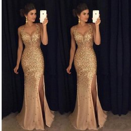 Wholesale V Neck Dress Sequin - 2017 Gold Prom Dresses Mermaid V Neck Cap Sleeve Floor Length Sequined Split Evening Gowns Custom Made For Specail Occasion