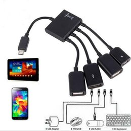 Wholesale Usb Cable Spliter - OTG Hub Cable Connector Spliter 4 Port Micro USB For Smartphone Computer Tablet PC