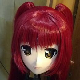 (C2-015) Cabeza completa Letax hembra Cara KIG Máscara Cosplay con peluca Kigurumi Crossdresser Doll Anime Máscaras Piel real Halloween Papel desde fabricantes