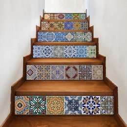 Wholesale stickers stairs - 6Pieces  Set Creative Diy 3D Stairway Stickers Ceramic Tile Pattern For Room Stairs Decoration Home Decor Floor Wall Sticker