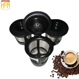 Wholesale Wholesale Reusable Plastic Cups - New Arrival Coffee Filter Stainless Steel Coffee Percolator Cup Black Color Office Home Supplies Reusable 3Pcs Set Wholesale Free Shipping