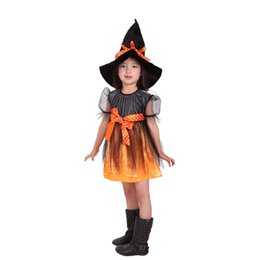Wholesale Kids Carnival Clothing - Fancy Masquerade Girls Dress Witch Clothing Halloween Costume For Girls With Hats Costume For Kids Purim Carnival Costumes