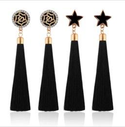 Wholesale Luxury Boho Fashion - Fashion Luxury Party Women Rose   Star Long Tassel Crystal Boho Long Tassel Hook Drop Dangle Earrings Jewelry Gifts