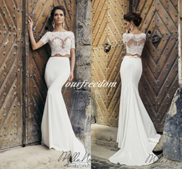 Wholesale Sheer Lace Panel Dress - Milla Nova 2016 Two Piece Lace Top Mermaid Wedding Dresses Crew Neck Short Sleeve Panel Train Bridal Gown Castle Garden Beach Wedding Wear
