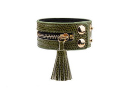 Wholesale Zipper Charms Wholesale - Big Wide Bracelet For Women Pulseras Mujer Zipper Tassels Leather Wrap Bracelets & Bangles Femme Armbanden Wristband